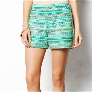 Anthropologie | Elevenses Costa Green Boho Shorts